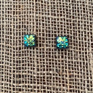 Jewelry - Blue Green and Gold Tone Earrings